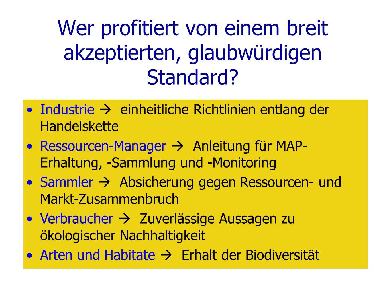 Wer profitiert von einem breit akzeptierten, glaubwürdigen Standard? Industrie einheitliche Richtlinien entlang der Handelskette Ressourcen-Manager An