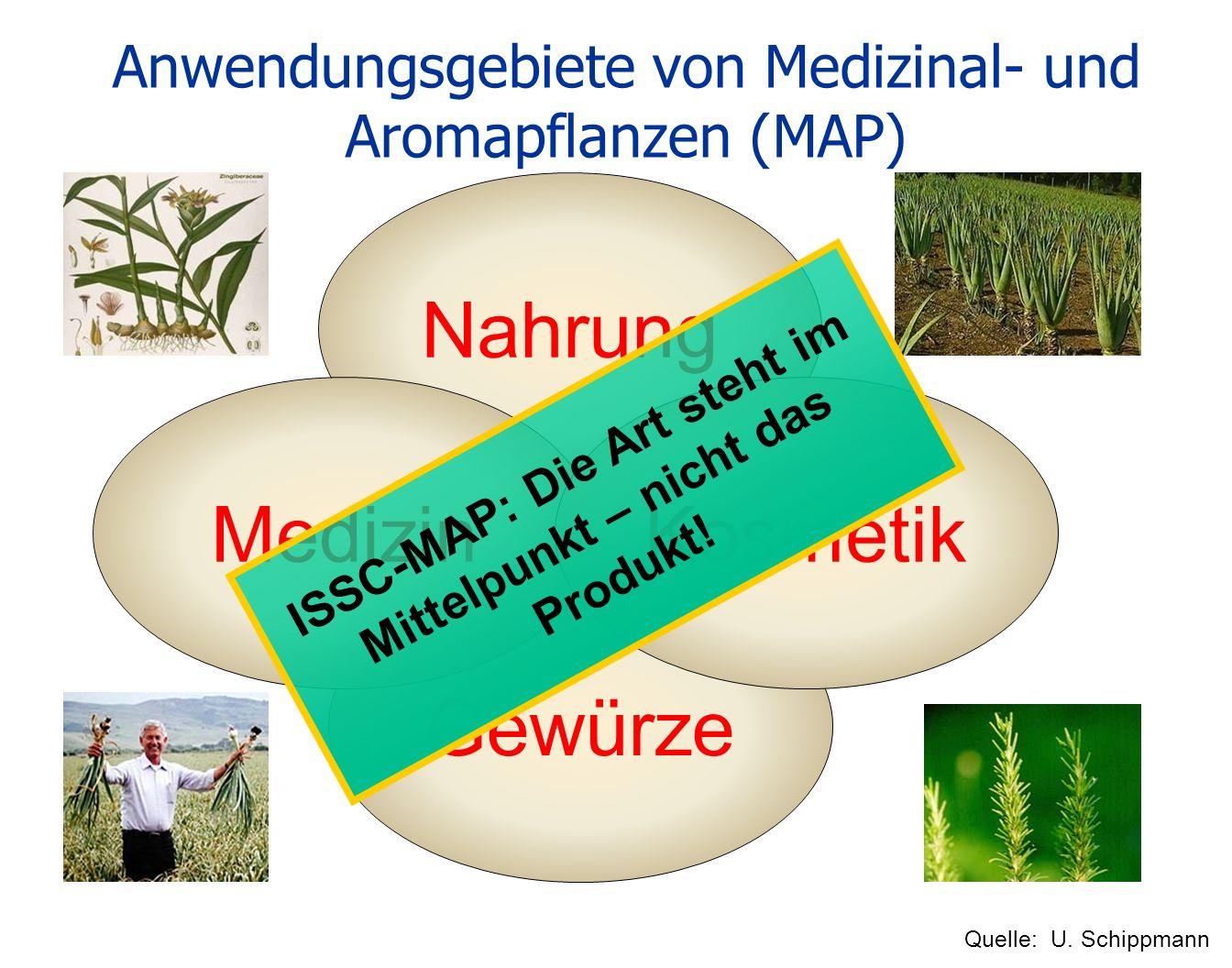 Gewürze Nahrung Anwendungsgebiete von Medizinal- und Aromapflanzen (MAP) MedizinKosmetik Quelle: U. Schippmann ISSC-MAP: Die Art steht im Mittelpunkt