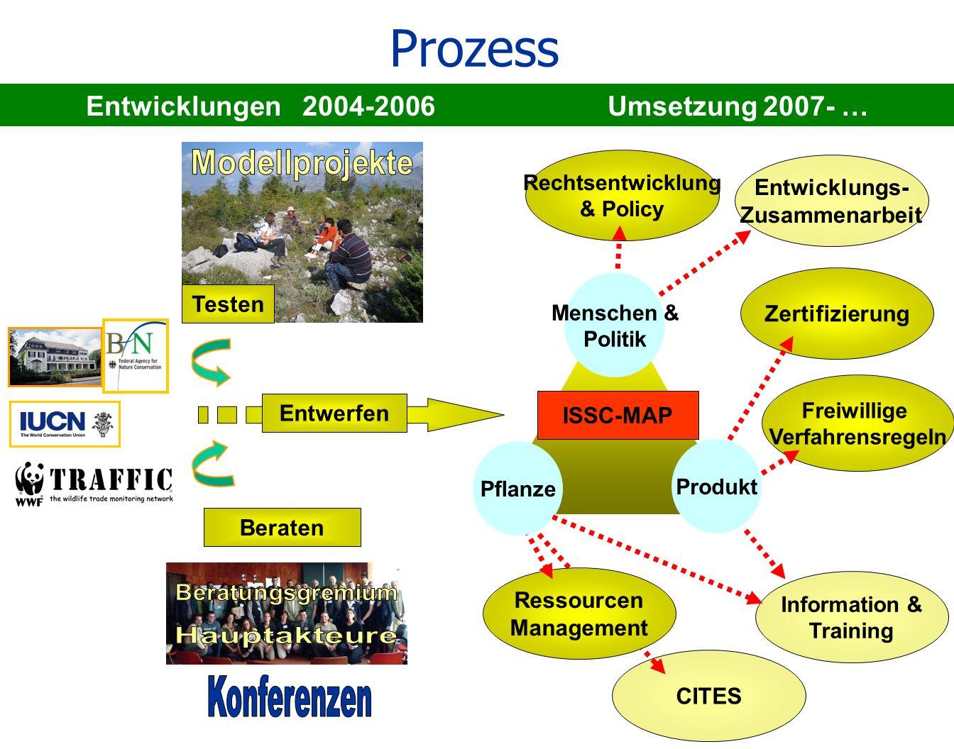 Rechtsentwicklung & Policy CITES Entwicklungen 2004-2006 Umsetzung 2007- … Prozess Entwerfen Freiwillige Verfahrensregeln Beraten Ressourcen Managemen