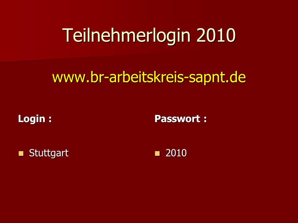 Teilnehmerlogin 2010 www.br-arbeitskreis-sapnt.de Stuttgart Stuttgart Login : Passwort : 2010 2010