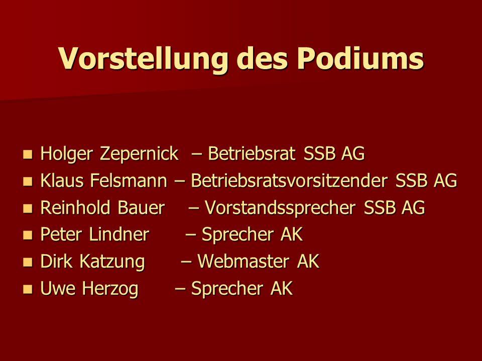 Vorstellung des Podiums Holger Zepernick – Betriebsrat SSB AG Holger Zepernick – Betriebsrat SSB AG Klaus Felsmann – Betriebsratsvorsitzender SSB AG K