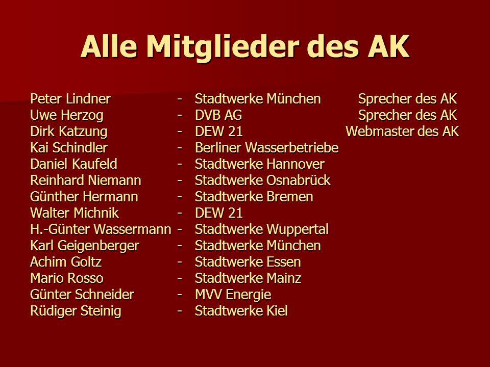 Alle Mitglieder des AK Peter Lindner- Stadtwerke München Sprecher des AK Uwe Herzog - DVB AG Sprecher des AK Dirk Katzung - DEW 21 Webmaster des AK Ka