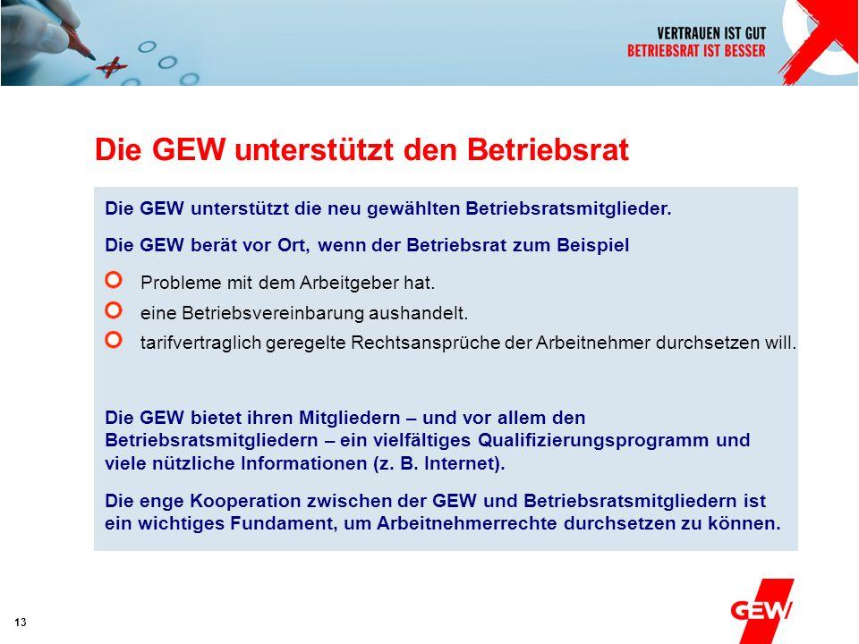 Absender 13 Die GEW unterstützt die neu gewählten Betriebsratsmitglieder. Die GEW berät vor Ort, wenn der Betriebsrat zum Beispiel Probleme mit dem Ar