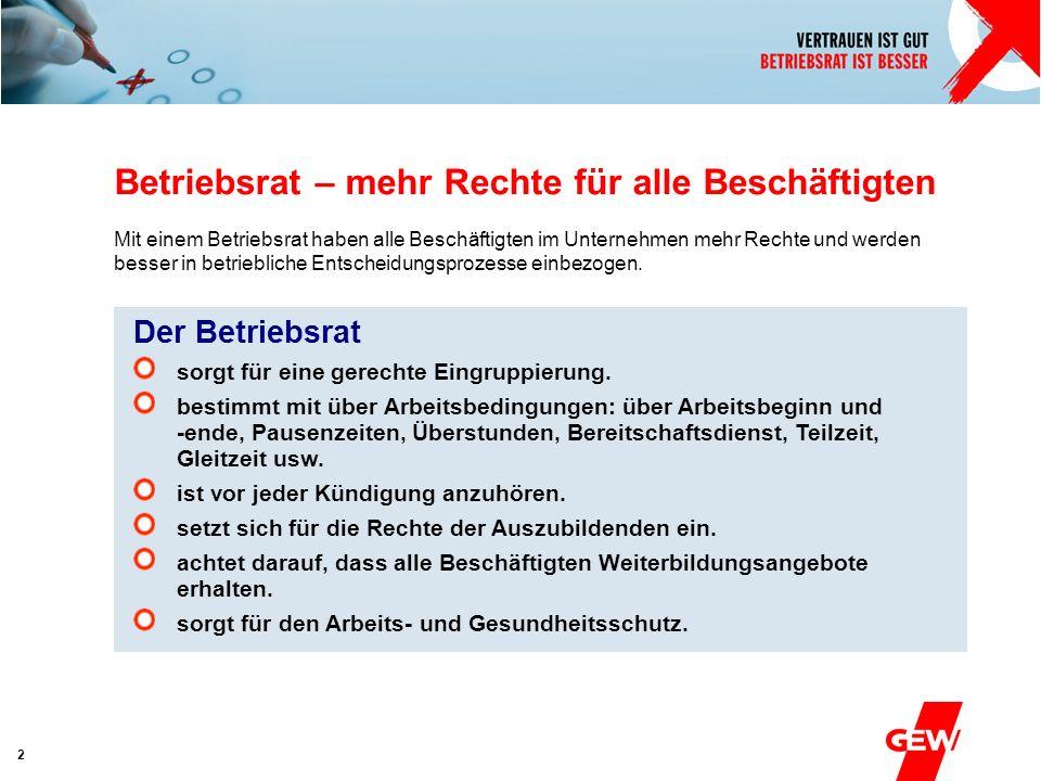 Absender 3 Betriebsrat – Beschäftigte – GEW Der Betriebsrat organisiert die Interessenvertretung der Beschäftigten im Betrieb.
