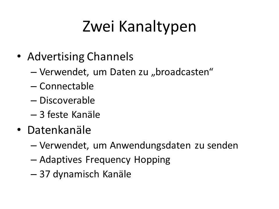 Mapping der Kanalindizes Advertising Channels 37 / 38 / 39 – Rotieren der Kanäle für Werbenachrichten – Advertisements mit geringen Datenmengen – Wahrscheinlichkeit von Kollision sind gering, wegen kleiner Datenmengen, die ausgesendet werden