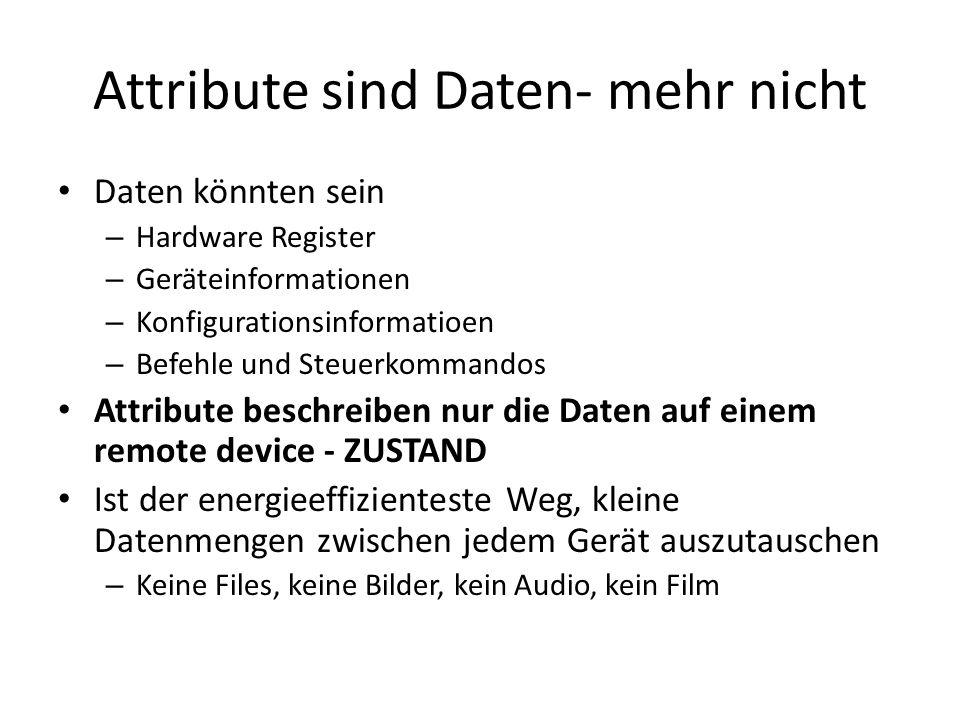 Attribute sind Daten- mehr nicht Daten könnten sein – Hardware Register – Geräteinformationen – Konfigurationsinformatioen – Befehle und Steuerkommand