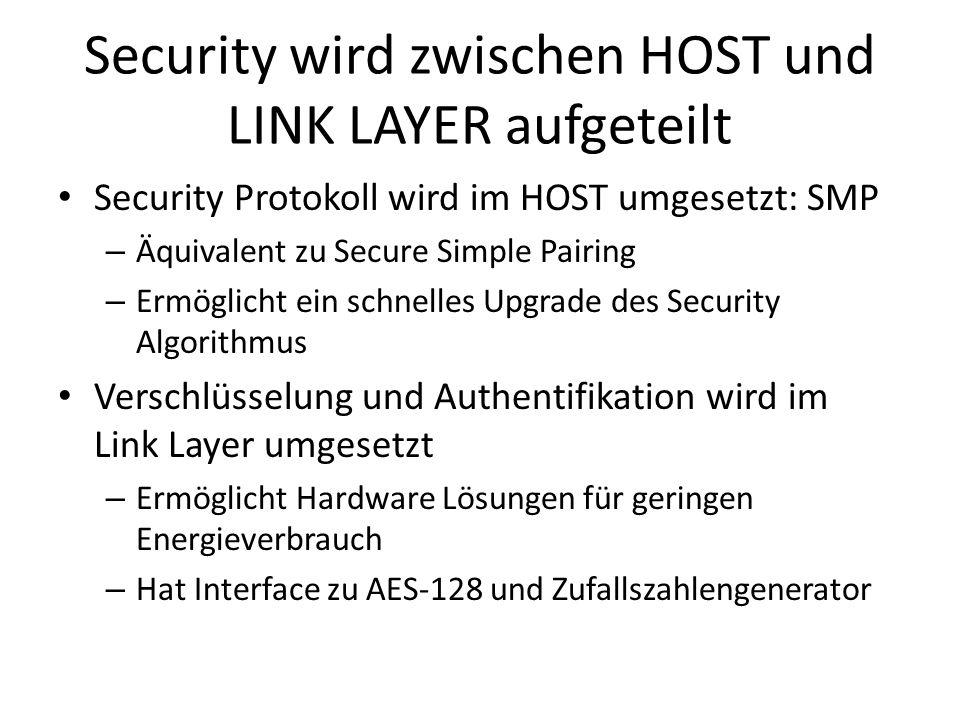 Security wird zwischen HOST und LINK LAYER aufgeteilt Security Protokoll wird im HOST umgesetzt: SMP – Äquivalent zu Secure Simple Pairing – Ermöglich