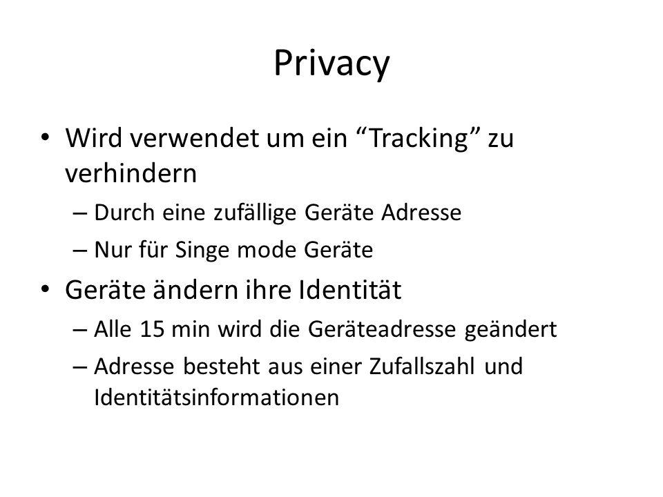 Privacy Wird verwendet um ein Tracking zu verhindern – Durch eine zufällige Geräte Adresse – Nur für Singe mode Geräte Geräte ändern ihre Identität –