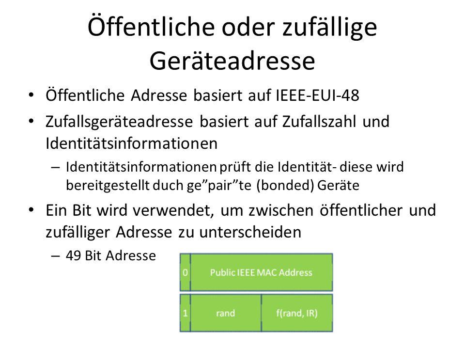 Öffentliche oder zufällige Geräteadresse Öffentliche Adresse basiert auf IEEE-EUI-48 Zufallsgeräteadresse basiert auf Zufallszahl und Identitätsinform