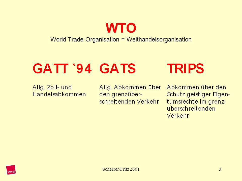 Scherrer/Fritz 20014 Welthandelsorganisation WTO 1948:GATT– General Agreement on Tariffs and Trade (= Allgemeines Zoll- und Handelsabkommen) 01.01.1995:Gründung der WTO seit Mitte 2000:Einleitung des Verhandlungsprozesses bei Agrarprodukten und Dienstleistungen 09.–13.11.2001:Die 4.