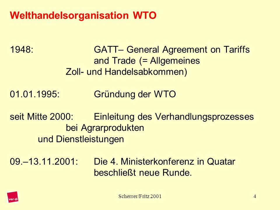 Scherrer/Fritz 200115 Rechtlicher Stellenwert der GATS-Verpflichtungen: Völkerrecht, dem nationalen Recht übergeordnet Bei Streitfragen wird das WTO-Streitbeilegungs-verfahren eingeleitet.
