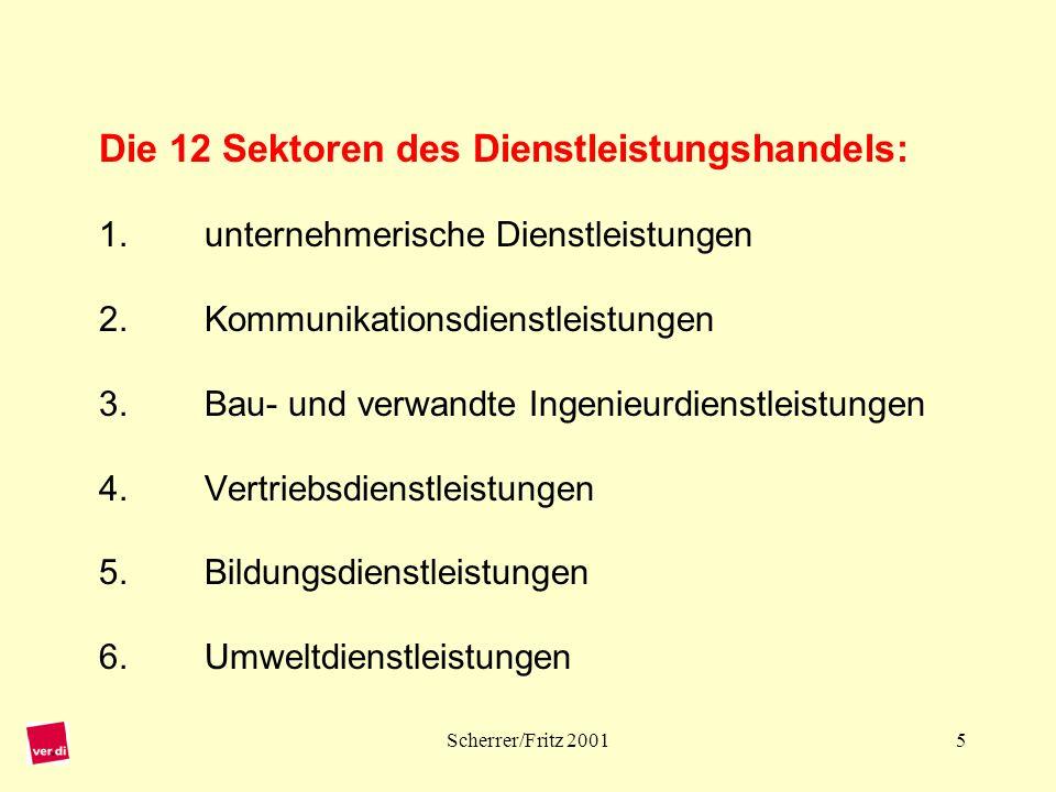 Scherrer/Fritz 20016 Die 12 Sektoren des Dienstleistungshandels: 7.Finanzdienstleistungen 8.Gesundheits- und soziale Dienstleistungen 9.Tourismus und Reisedienstleistungen 10.Erholung, Kultur und Sport 11.Transportdienstleistungen 12.Sonstige nicht aufgeführte Dienstleistungen