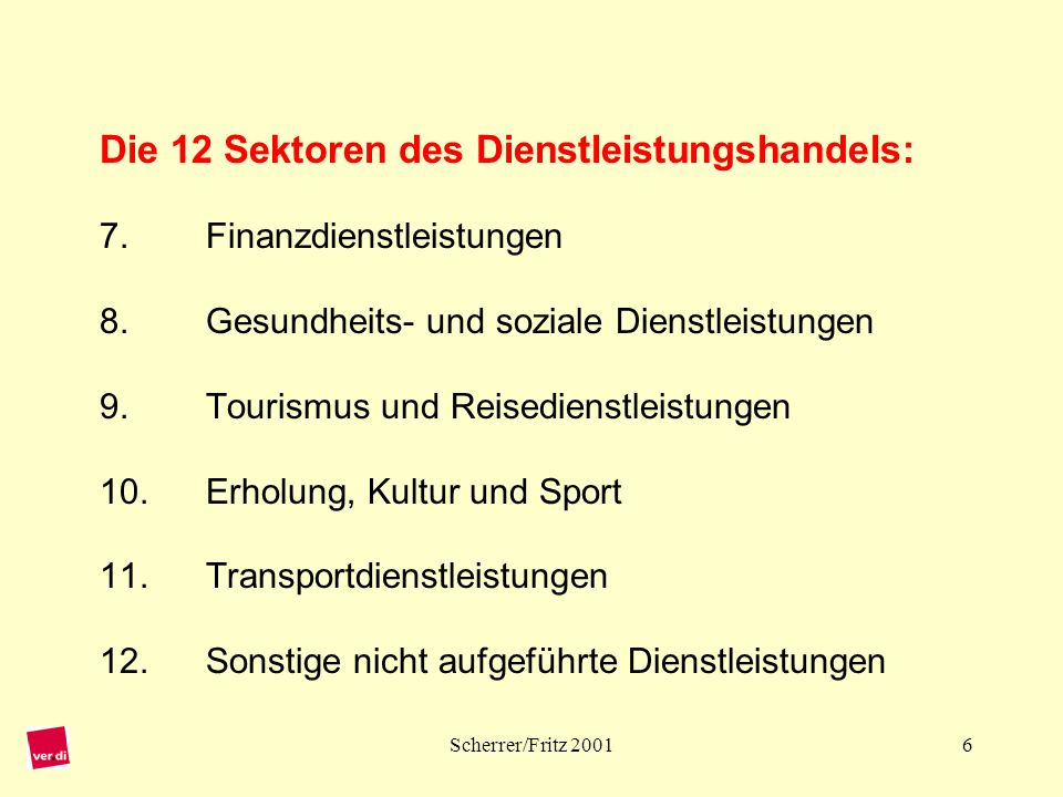 Scherrer/Fritz 20017 Die 4 Formen des Dienstleistungshandels: Mode 1 Grenzüberschreitende Erbringung: Lieferung einer Dienstleistung (DL) von einem Land in das andere (z.B.