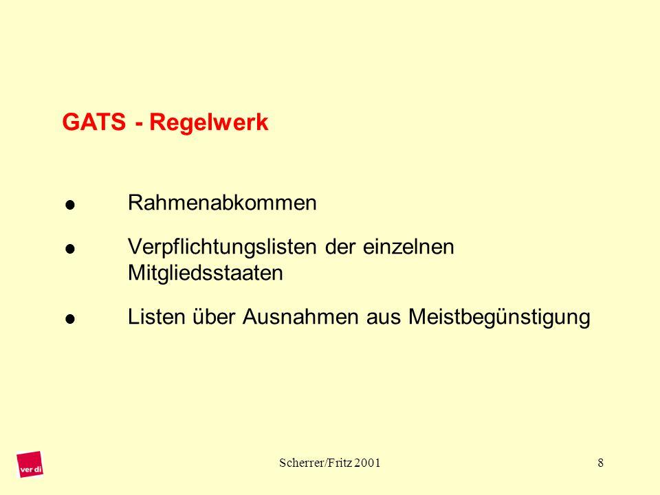 Scherrer/Fritz 200119 Analyse der Beschäftigungsfolgen: Branchenmäßige Ermittlung der Liberalisierungsschritte im GATS, die über EU-Binnenmarktprogramm und Assoziierungsabkommen hinausgehen.