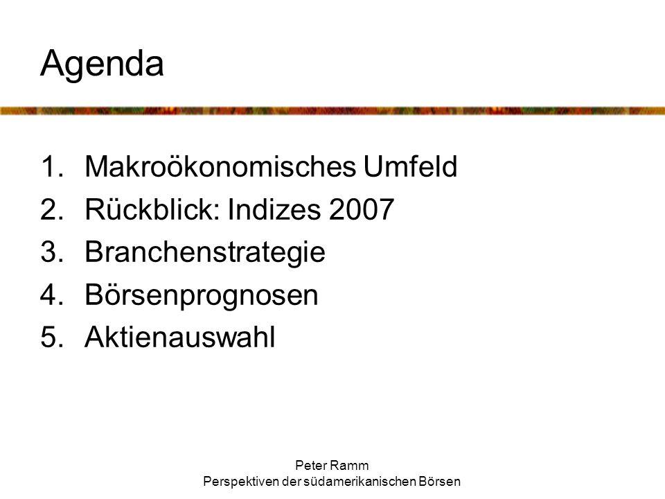 Peter Ramm Perspektiven der südamerikanischen Börsen Agenda 1.Makroökonomisches Umfeld 2.Rückblick: Indizes 2007 3.Branchenstrategie 4.Börsenprognosen 5.Aktienauswahl