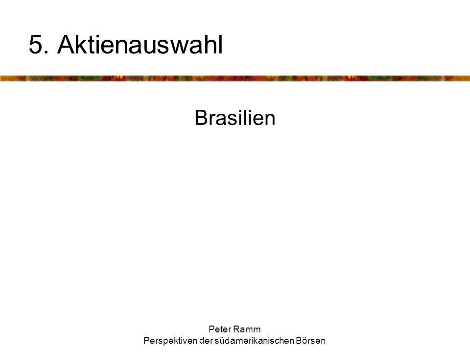 Peter Ramm Perspektiven der südamerikanischen Börsen Brasilien 5. Aktienauswahl