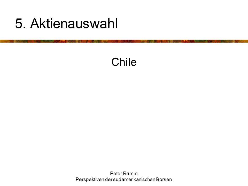 Peter Ramm Perspektiven der südamerikanischen Börsen Chile 5. Aktienauswahl
