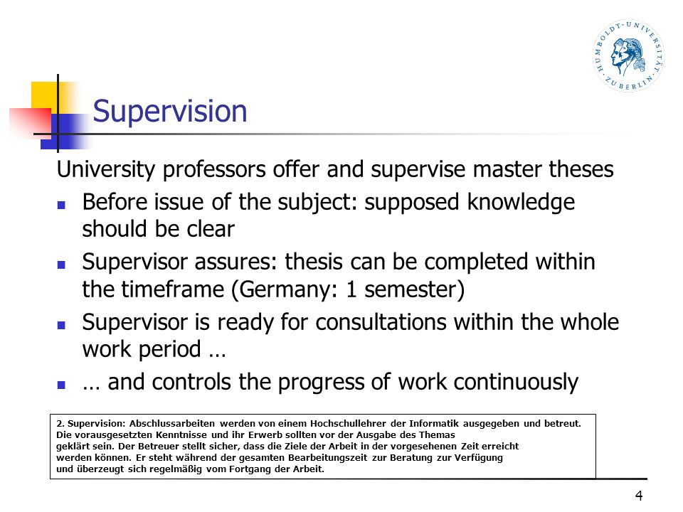 Supervision University professors offer and supervise master theses Before issue of the subject: supposed knowledge should be clear Supervisor assures