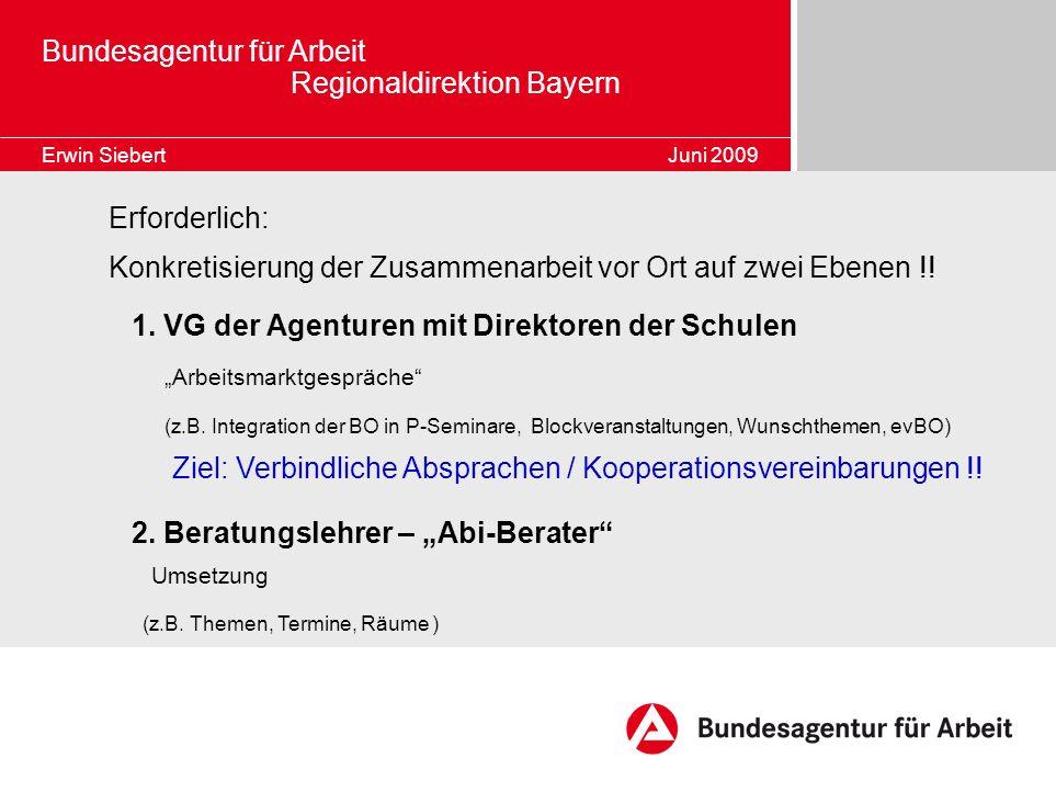 Bundesagentur für Arbeit Regionaldirektion Bayern Erwin Siebert Juni 2009 Erforderlich: Konkretisierung der Zusammenarbeit vor Ort auf zwei Ebenen !!