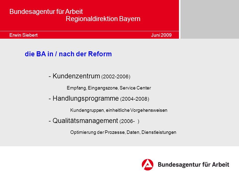 Bundesagentur für Arbeit Regionaldirektion Bayern Erwin Siebert Juni 2009 die BA in / nach der Reform - Kundenzentrum (2002-2006) Empfang, Eingangszon