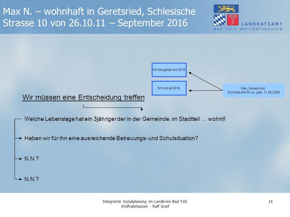 Integrierte Sozialplanung im Landkreis Bad Tölz Wolfratshausen - Ralf Greif 16 Max N.