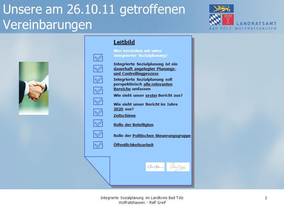 Integrierte Sozialplanung im Landkreis Bad Tölz Wolfratshausen - Ralf Greif 2 Unsere am 26.10.11 getroffenen Vereinbarungen Leitbild Zeitschiene Rolle der Beteiligten Was verstehen wir unter Integrierter Sozialplanung.