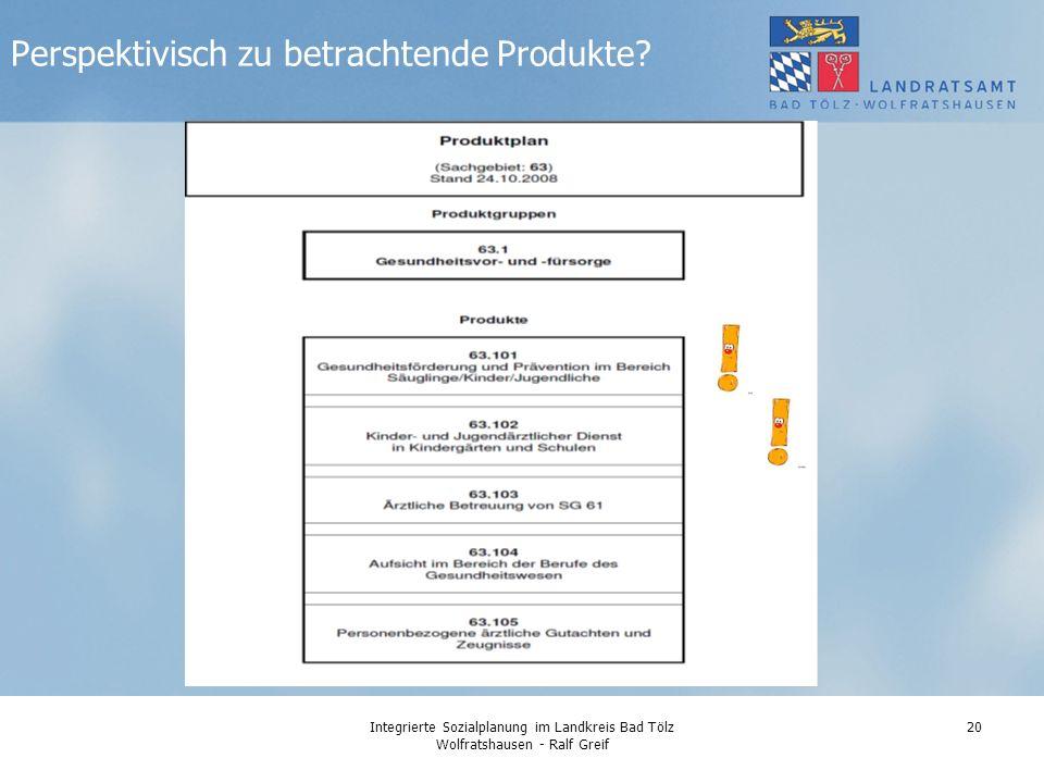 Integrierte Sozialplanung im Landkreis Bad Tölz Wolfratshausen - Ralf Greif 20 Perspektivisch zu betrachtende Produkte?