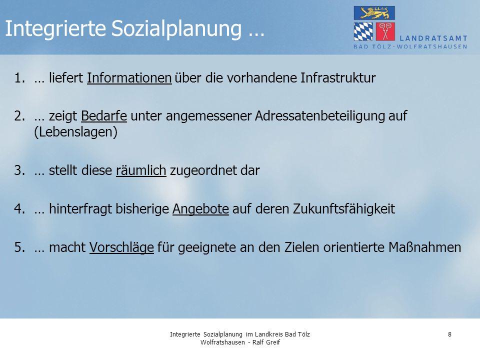 Integrierte Sozialplanung im Landkreis Bad Tölz Wolfratshausen - Ralf Greif 29 Der Bericht