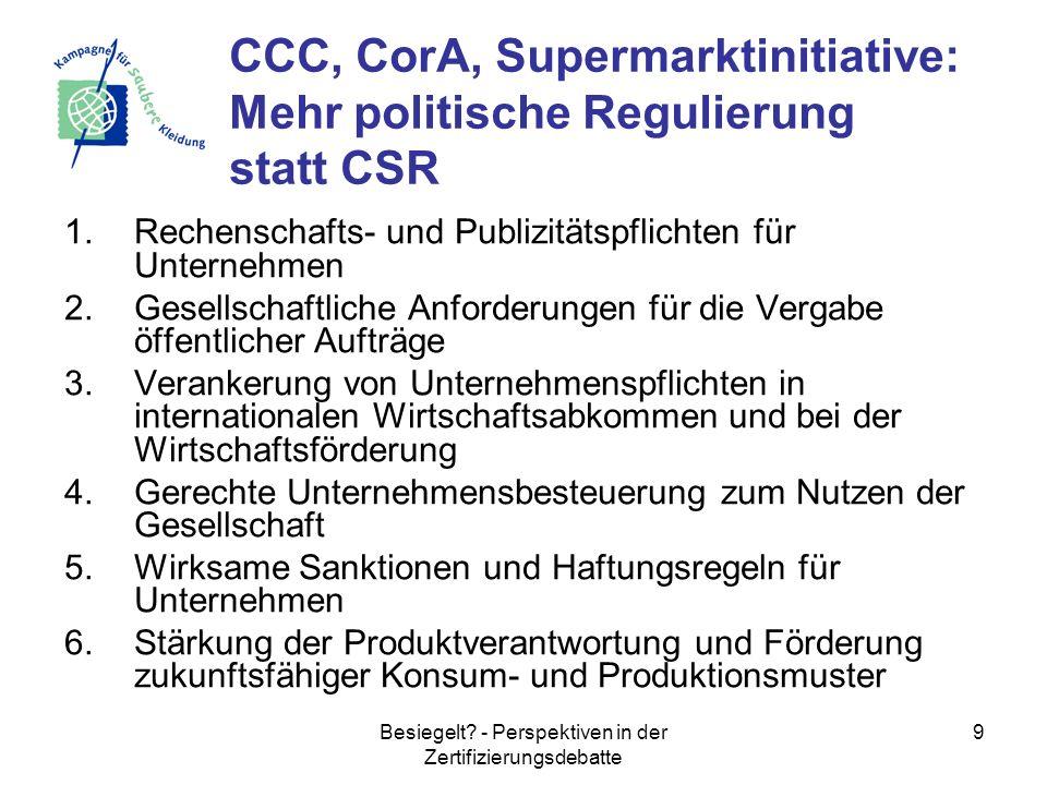 Besiegelt? - Perspektiven in der Zertifizierungsdebatte 9 1.Rechenschafts- und Publizitätspflichten für Unternehmen 2.Gesellschaftliche Anforderungen