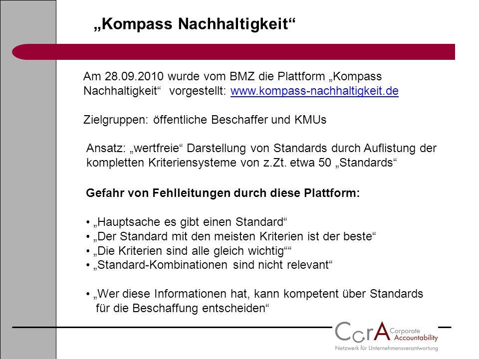Kompass Nachhaltigkeit Am 28.09.2010 wurde vom BMZ die Plattform Kompass Nachhaltigkeit vorgestellt: www.kompass-nachhaltigkeit.de Zielgruppen: öffent