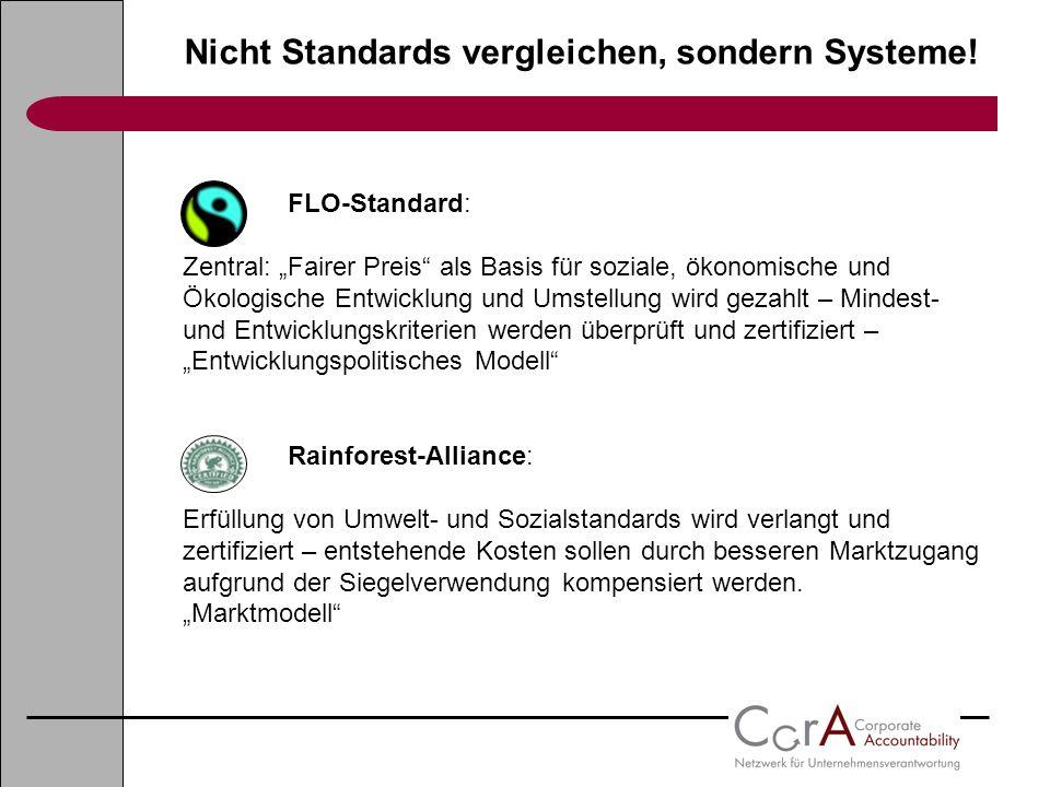 Nicht Standards vergleichen, sondern Systeme! FLO-Standard: Zentral: Fairer Preis als Basis für soziale, ökonomische und Ökologische Entwicklung und U