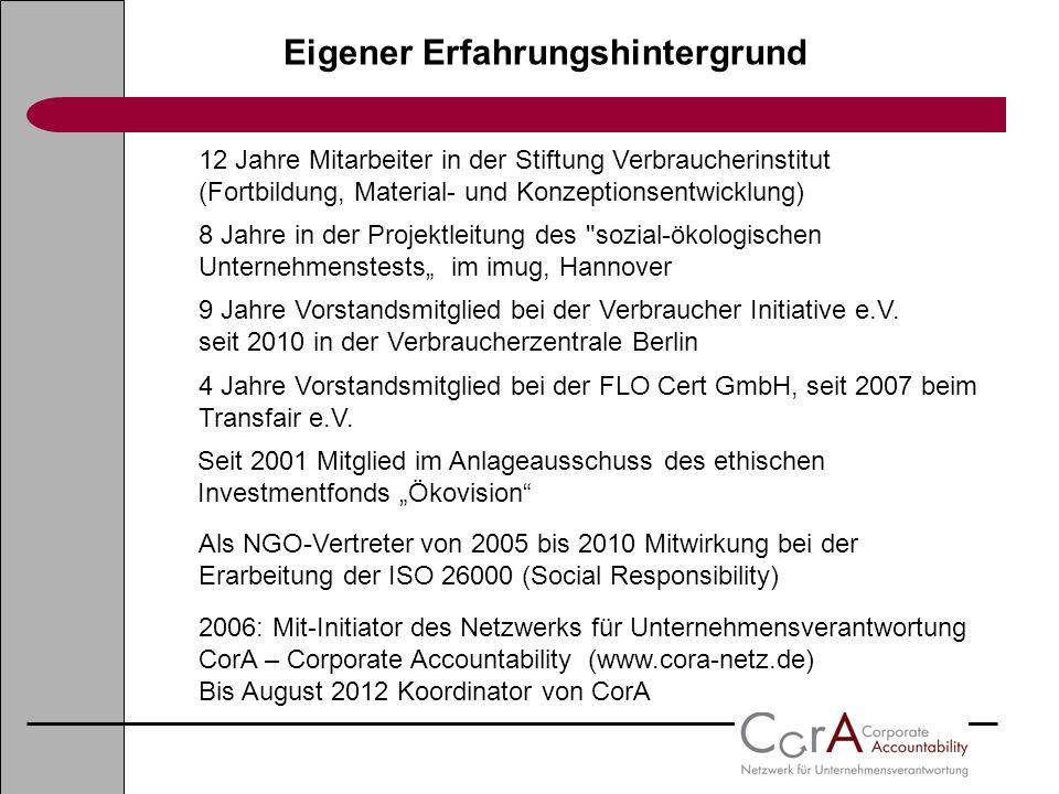 Eigener Erfahrungshintergrund 12 Jahre Mitarbeiter in der Stiftung Verbraucherinstitut (Fortbildung, Material- und Konzeptionsentwicklung) 8 Jahre in