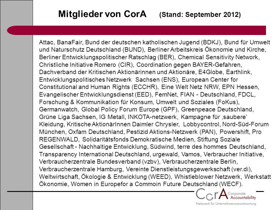 Mitglieder von CorA (Stand: September 2012) Attac, BanaFair, Bund der deutschen katholischen Jugend (BDKJ), Bund für Umwelt und Naturschutz Deutschlan