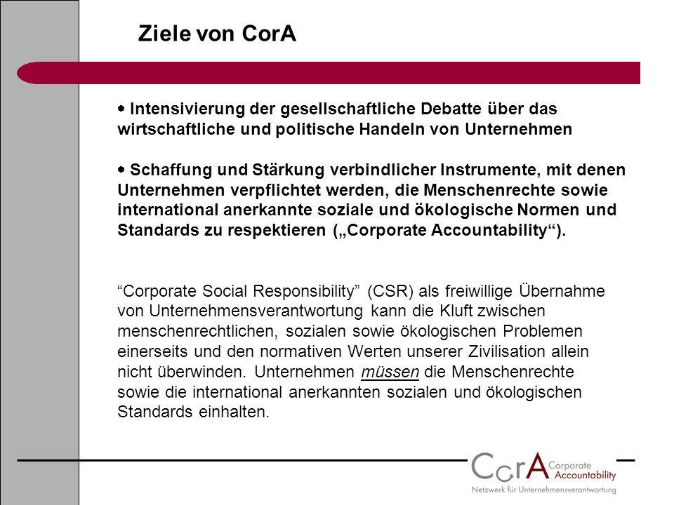 Ziele von CorA Intensivierung der gesellschaftliche Debatte über das wirtschaftliche und politische Handeln von Unternehmen Schaffung und Stärkung ver