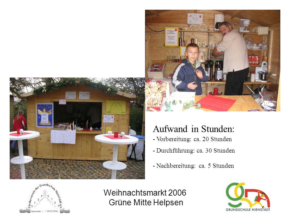 Weihnachtsmarkt 2006 Grüne Mitte Helpsen Aufwand in Stunden: - Vorbereitung: ca. 20 Stunden - Durchführung: ca. 30 Stunden - Nachbereitung: ca. 5 Stun