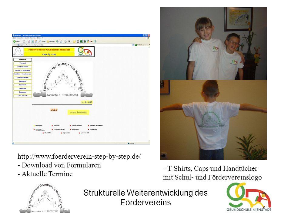 Strukturelle Weiterentwicklung des Fördervereins http://www.foerderverein-step-by-step.de/ - Download von Formularen - Aktuelle Termine - T-Shirts, Ca