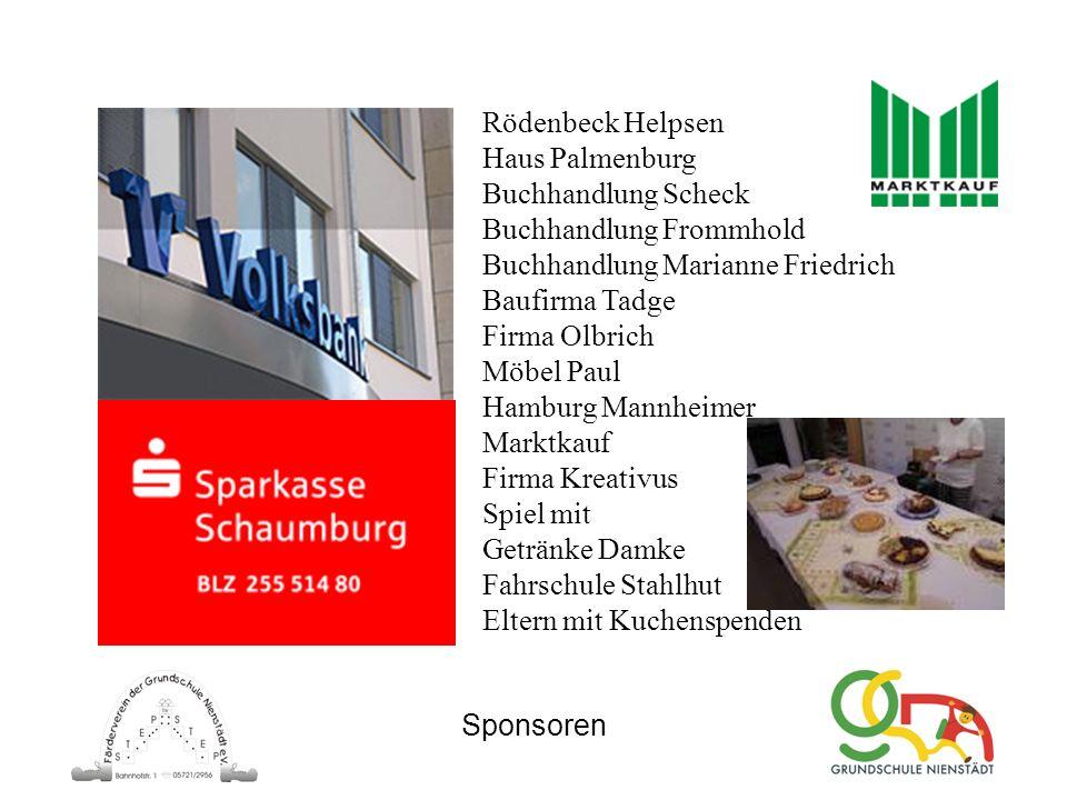 Sponsoren Rödenbeck Helpsen Haus Palmenburg Buchhandlung Scheck Buchhandlung Frommhold Buchhandlung Marianne Friedrich Baufirma Tadge Firma Olbrich Mö