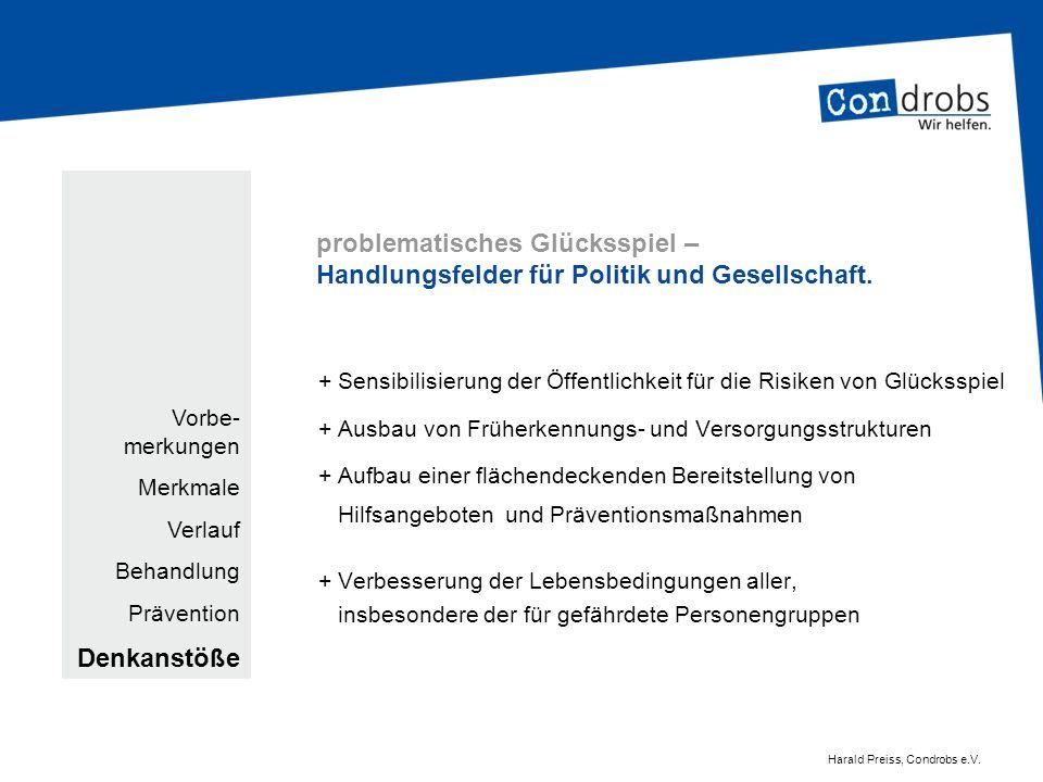 problematisches Glücksspiel – Handlungsfelder für Politik und Gesellschaft. + Sensibilisierung der Öffentlichkeit für die Risiken von Glücksspiel + Au