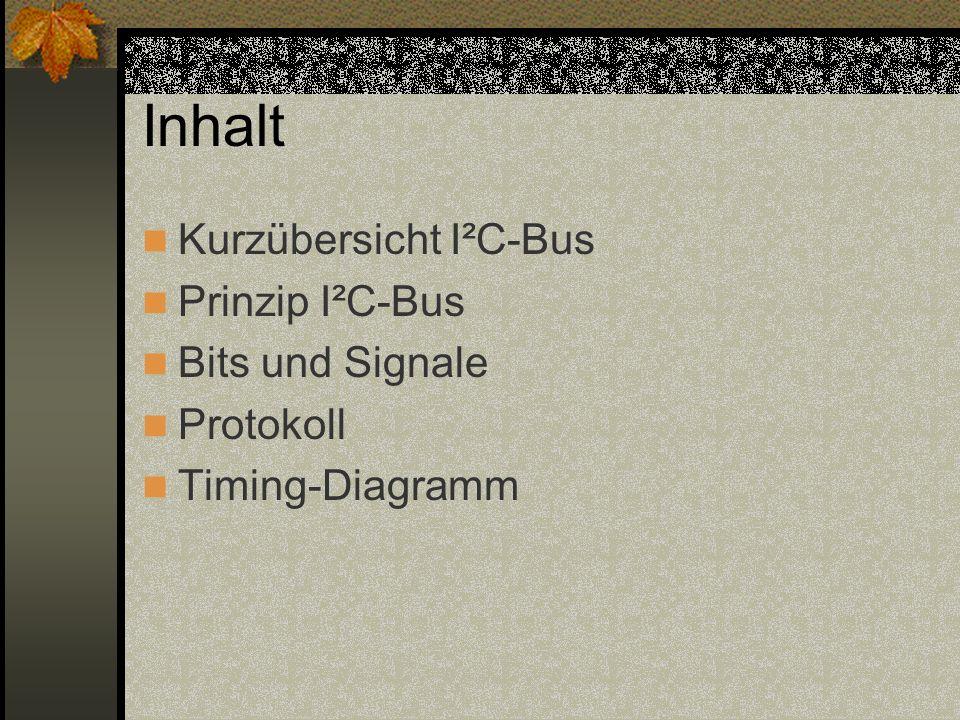 Kurzübersicht I²C-Bus Industriestandard Dient zur Kommunikation zwischen mehreren ICs synchron Nur zwei Leitungen SDA (= serial data) SCL (= serial clock)