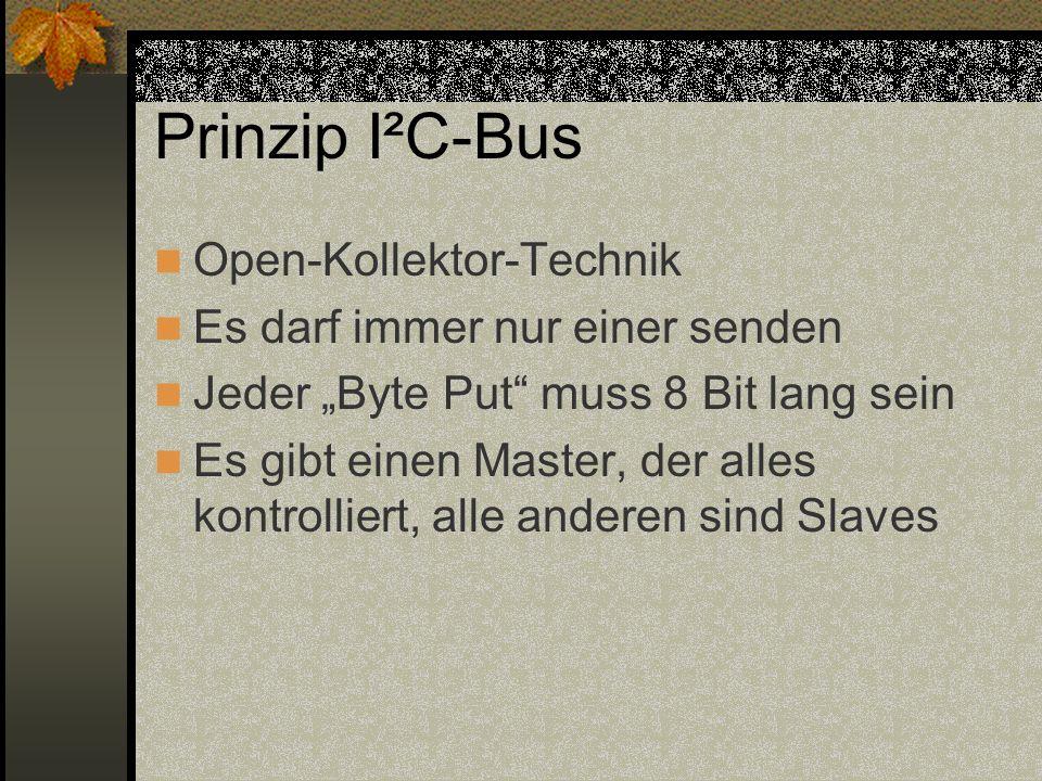 Prinzip I²C-Bus Open-Kollektor-Technik Es darf immer nur einer senden Jeder Byte Put muss 8 Bit lang sein Es gibt einen Master, der alles kontrolliert, alle anderen sind Slaves