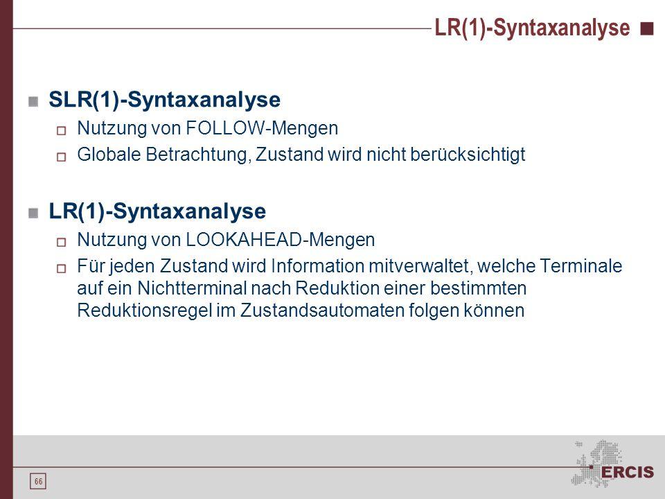 65 LR(1)-Syntaxanalyse Grammatik G 6 : Regel 0:S Regel 1:S E = E Regel 2:S id Regel 3:E E + id Regel 4:E id ActionGoto Zust=+id$SE 0s312 1acc 2s4s6 3r