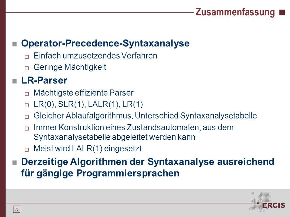 72 LALR(1)-Syntaxanalyse Mit LALR(1) erstellte Syntaxanalysetabelle für Grammatik G 6 : ActionGoto Zust =+id$SE 0s312 1acc 2s4s69 3r4 r2 4s85 5s69r1 6