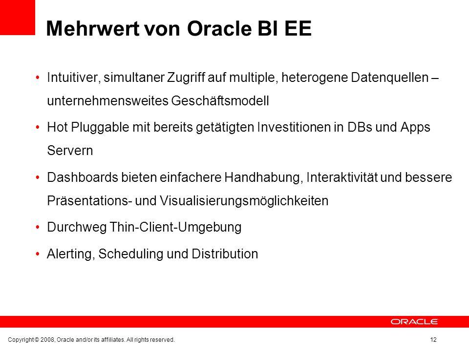 Mehrwert von Oracle BI EE Intuitiver, simultaner Zugriff auf multiple, heterogene Datenquellen – unternehmensweites Geschäftsmodell Hot Pluggable mit