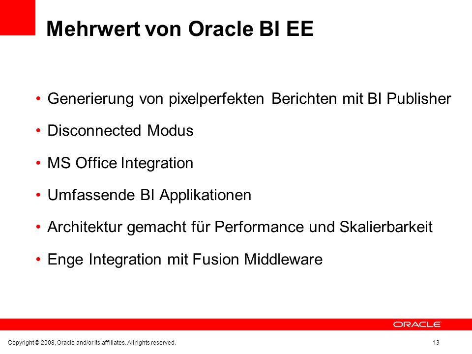 Mehrwert von Oracle BI EE Generierung von pixelperfekten Berichten mit BI Publisher Disconnected Modus MS Office Integration Umfassende BI Applikation