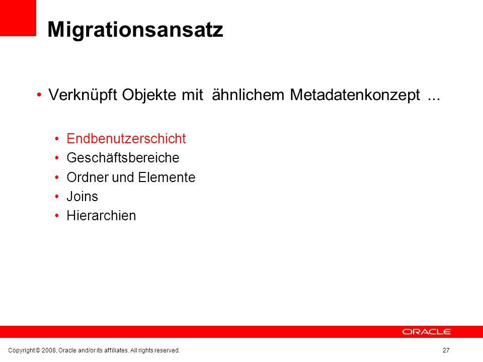 Migrationsansatz Verknüpft Objekte mit ähnlichem Metadatenkonzept... Endbenutzerschicht Geschäftsbereiche Ordner und Elemente Joins Hierarchien Copyri