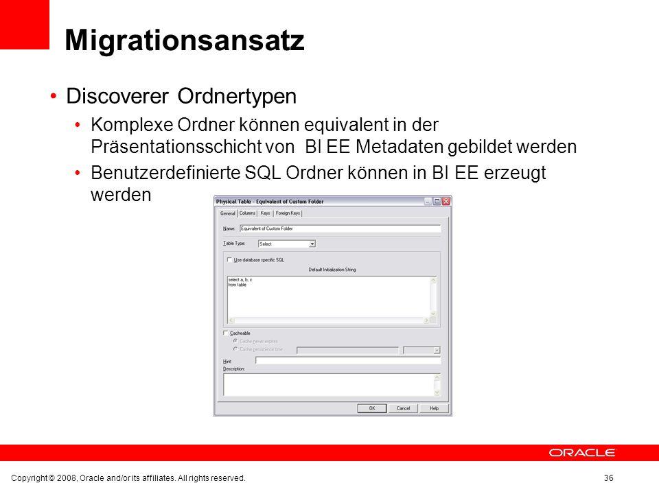 Migrationsansatz Discoverer Ordnertypen Komplexe Ordner können equivalent in der Präsentationsschicht von BI EE Metadaten gebildet werden Benutzerdefi