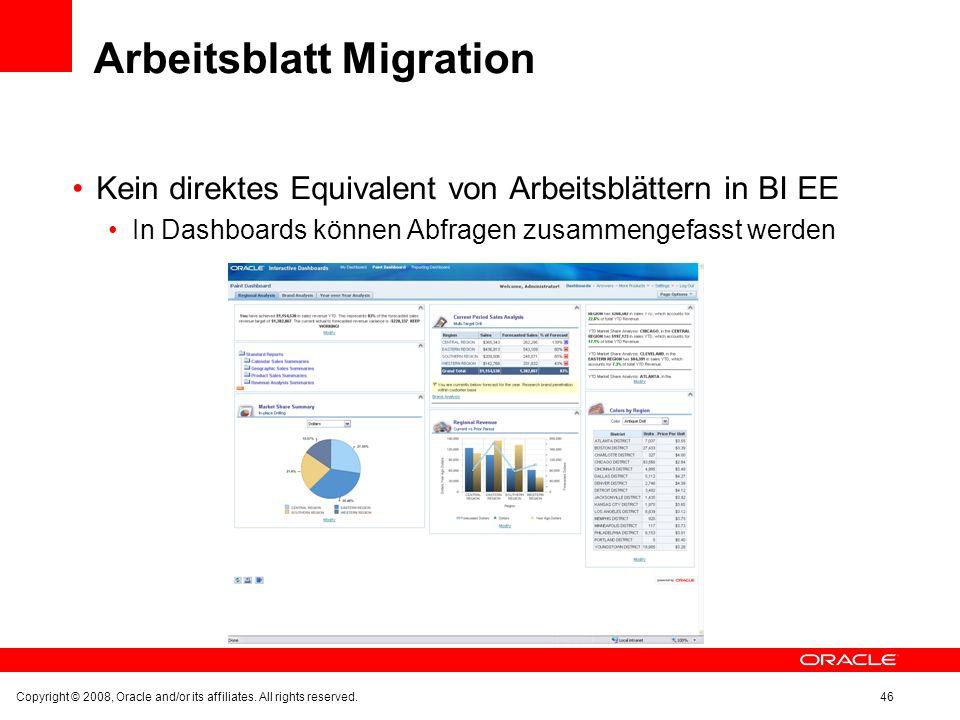 Arbeitsblatt Migration Kein direktes Equivalent von Arbeitsblättern in BI EE In Dashboards können Abfragen zusammengefasst werden Copyright © 2008, Or