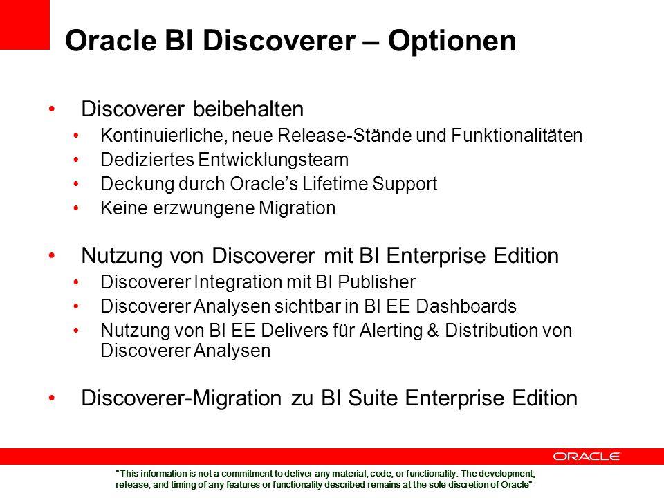 Discoverer beibehalten Kontinuierliche, neue Release-Stände und Funktionalitäten Dediziertes Entwicklungsteam Deckung durch Oracles Lifetime Support K