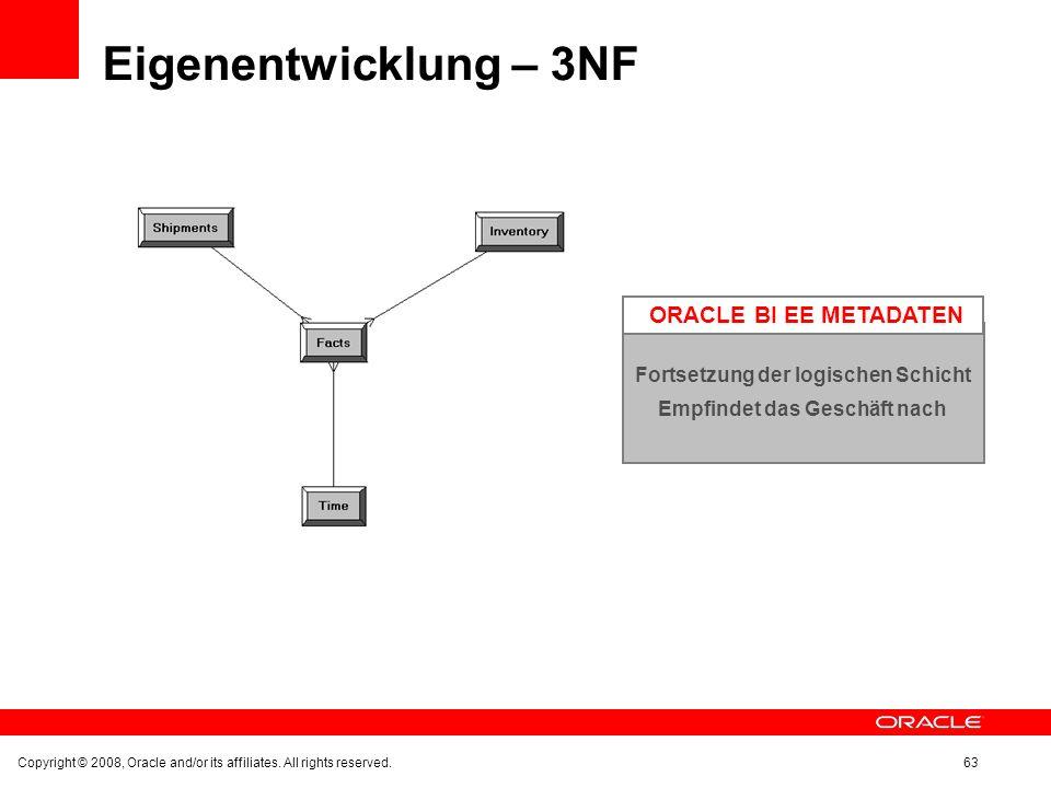 Eigenentwicklung – 3NF Copyright © 2008, Oracle and/or its affiliates. All rights reserved.63 Fortsetzung der logischen Schicht Empfindet das Geschäft