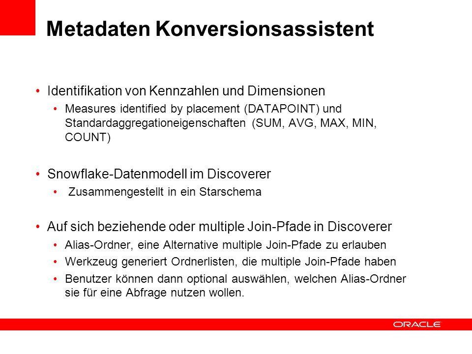 Metadaten Konversionsassistent Identifikation von Kennzahlen und Dimensionen Measures identified by placement (DATAPOINT) und Standardaggregationeigen